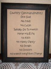 Country Ten Commandments, Primitive Stitchery, Christian Decor, Handmade, Rustic