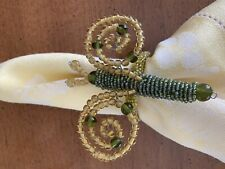 Set of 4 - Pottery Barn Garden Bug Beaded  Napkin Rings - Green & Yellow In Box
