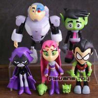 Teen Titans Go Robin Cyborg Beast Boy Starfire Raven Silkie led PVC Figures 7pcs