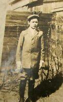 Antique Postcard Real Photo Boy Suit Hat Fence Outdoor Sepia c1900 AZO RPPC