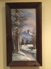 Vintage Original Antonio Oil Painting Canvas Winter Mountain Snowscape Framed