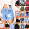 Womens High Waist Ripped Denim Jeans Shorts Stretch Fit Fashion Summer Hot Pants