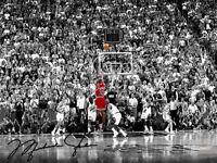 Michael Jordan The Last Shot W/ Autograph Reprint 8x10 Photo Reprint Auto Iconic