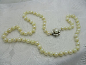 ESTATE JEWELRY 14K SOLID WHITE GOLD FLOWER CLASP CULTURED 5MM PEARL NECKLACE 1