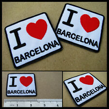 1 X I Love BARCELONA Spain España Souvenir Travel Europe Iron On Patch Catalunya