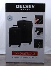 """Delsey Innovate DLX 2-pc BLK Hardside Weight Meter Suitcase Spinner Set 29"""" 21"""""""