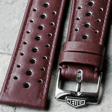 Burgundy 1960s/70s vintage chronograph rally watch band with steel Heuer buckle