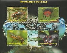 INSECT BEETLE FLY WASP BUTTERFLY REPUBLIQUE DU TCHAD 2012 MNH STAMP SHEETLET