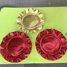 New listing Vintage 1960s Drewry's Beer Gold / Red Aluminum Metal Ashtrays Set Of Three 007
