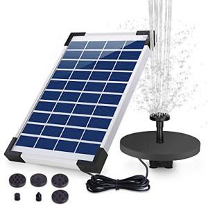 AISITIN Solar Water Fountain 5.5W 1500mAH Battery Backup Solar Floating Fountain