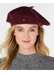 INC Womens Burgundy Cotton Fitted Jewel-Embellished Beret Hat