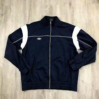 Umbro Full Zip Track Jacket Men's XL Blue White Stipe Mock Neck Small Logo