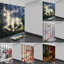 Christmas Waterproof Shower Curtain Anti slip Bath Mats Bathroom Su PE