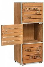 Wooden Industrial Cupboard Cabinet 3 Compartment Storage Retro Bedroom Furniture