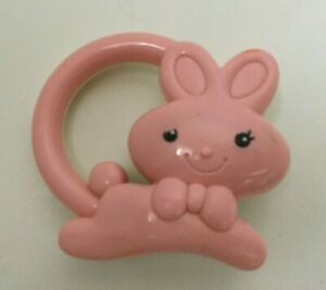 Vintage Pink Bunny White Hard Plastic Baby Rattle Hand-held Toy