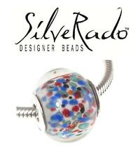 Genuine SilveRado 925 silver BRIGHT SPECKLE extra large Murano Focal charm bead