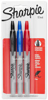 Sharpie Retractable Fine Point Tip Permanent Ink Markers Black Red Blue