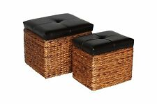 Set of 2 Ottoman Chair Lift Top Seat Storage Faux Leather Woven Upholstered