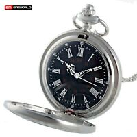 Vintage Roman Silver Pocket Watch Quartz Antique Pendant Necklace Chain Gift Hot