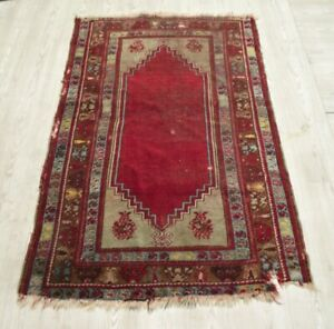 Vintage Red Shabby Chic Kilim Rug 3x5 ft Anatolian Handwoven Wool Decorative Rug