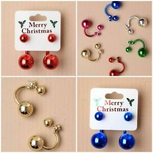 New Christmas Shiny Ball Bauble Earrings in 5 Colours Gold Blue Pink Green