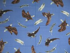 AMERICAN BALD EAGLE ~ FEATHERS on BLUE ~ Quilt FABRIC Coordinate Sold by ½ YARD