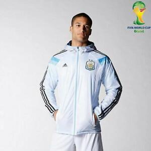 Rare Adidas Argentina Woven Nylon Glanz Anthem Jacket White Blue Sexy Small