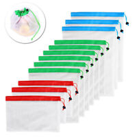 12 Pack Reusable Mesh Produce Bags for Vegetable Fruit Toys Storage Pouch TOP