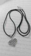 "A Filigree Love Heart Tibetan Silver Charm, Long 30"" Black Cord Chain Necklace"