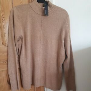 Marks And Spencer Autograph Camel Beige Ladies Long Wool Mix Jumper Size 20 Rrp