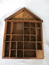 Wall Hanging Display Nick Nack Shelf Wooden 20 Compartmens With Music Box
