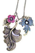 Vintage Art Déco antigüedades estilo bronce hoja y esmalte collar con flor