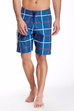 New QUICKSILVER Sz 38 Square Root Indigo Blue Plaid Board Shorts