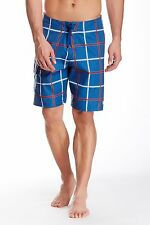 New QUIKSILVER Sz 38 Square Root Indigo Blue Plaid Board Shorts