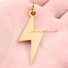 Gold Stainless steel lightning  Charms Pendant Necklace ball chain men's jewelry