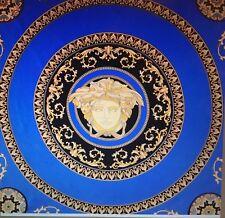 Autenthic VERSACE  Blue 100% Silk Paisley Pattern Scarf 90cm X 85cm