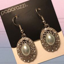 "Paparazzi ""Good Luxe To You"" Light Blue Faux Pearl Earrings White Rhinestones"