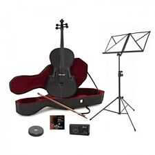 More details for black cello 4/4 full set for beginners - gear4music - perfect condition