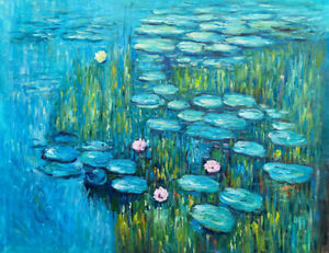 Les Nymphéas (The Water Lilies) Oil Painting Reproduction Canvas by Claude Monet