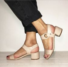 TOPSHOP Nude Leather Strappy Ankle Strap Mid Block Heels Size 5 / 38