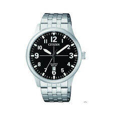 NEW Citizen Mens Stainless Steel Quartz Watch Black Face Silver Date Indicator
