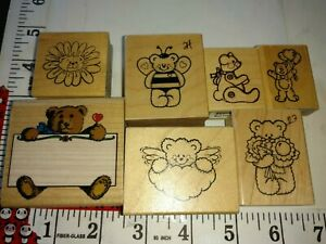 Teddy bears, bears, assorted, lot of 7,wooden,rubber,stamp