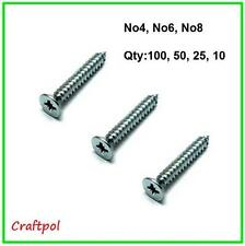 Pozi Countersunk Self Tapping Screws, - Zinc Plated -  choice of length & qty