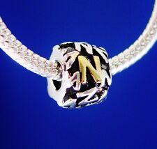 Alphabet Initial Letter N Gold Silver European Bead Charm threaded