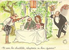 CARTE POSTALE FANTAISIE HUMOUR A TABLE RESTAURANT ILLUSTRATEUR BELLUS