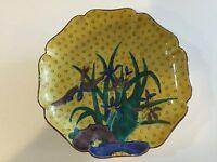 "Vintage Kutani Hand Painted Yellow Decorative Wall Plaque Plate, 6"" Diameter"