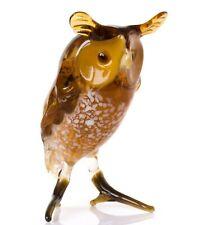 Owl Glass Figurine, Blown Glass Art, Brown and Yellow Bird Miniature