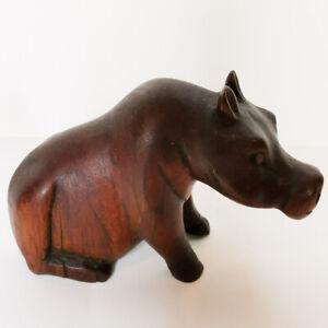 Midcentury Carved Wooden Hippopotamus Figure Wildlife Decorative Vintage