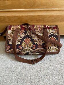 Tapestry Fabric Folding Wheeled Shopping Trolly Bag Multicoloured Used