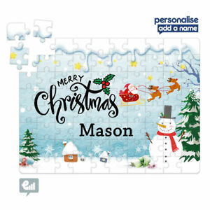 Personalised Marry Christmas Snowman Santa Jigsaw Puzzle Present Kids Card Gift